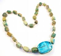 Hand crafted Statement Egyptian Style Scarab Necklace.